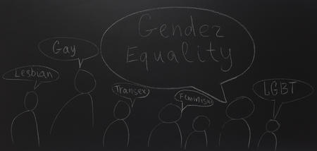 written text with chalk on blackboard: Gender equality