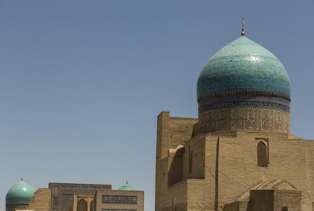 blue dome of Mir-i-Arab Madrasah, Bukhara, Uzbekistan.