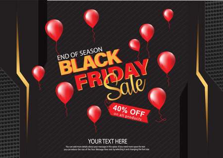 Black Friday background with balloons end of season sale. vector illustration