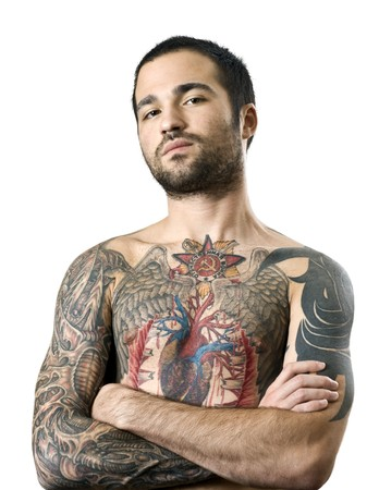 hand colored: guy with a tattoo posing Stock Photo