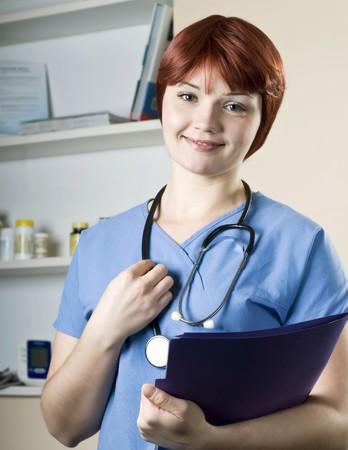 Young pretty woman nurse at hospital