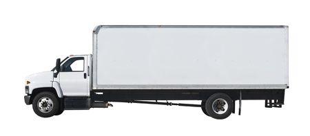 Camion blanche isolée sur fond blanc  Banque d'images