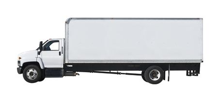 White truck isolated on white background