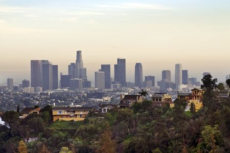 hazy: View on Downtown Los Angeles  in a hazy day
