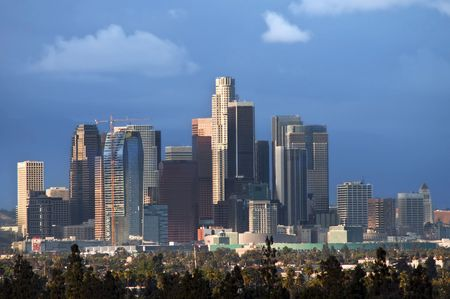 los: City-scape of downtown Los Angeles Stock Photo