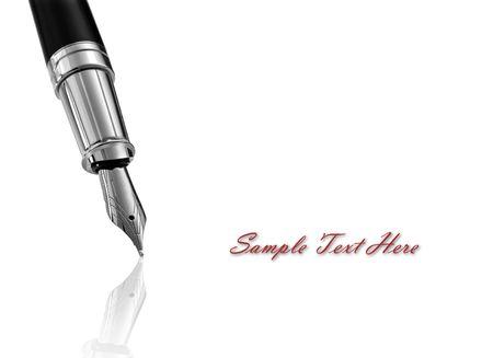 Fountain pen écrit sur fond blanc Banque d'images
