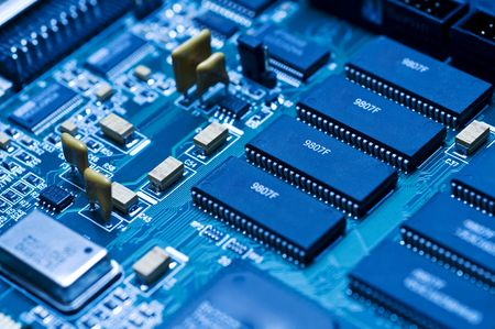 motherboard: Blue electronic circuit close-up
