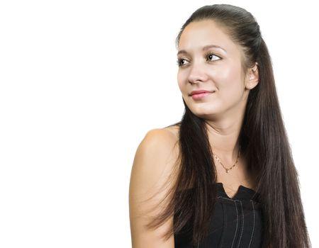Closeup portrait d'une jeune femme isol?e sur fond blanc