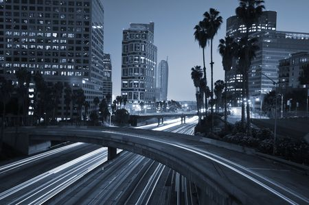 Traffic through downtown Los Angeles photo