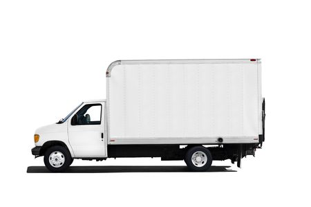 Camion de livraison isolée sur fond blanc