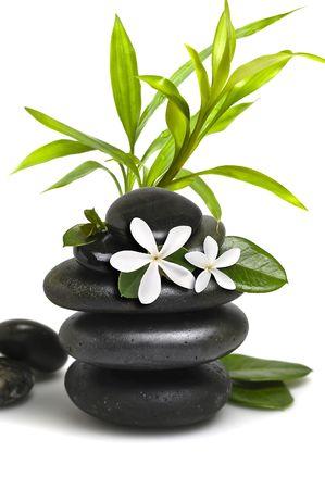 Spa natures, avec des fleurs blanches et bambou leavs  Banque d'images