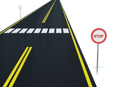 Road with pedestrian crossing on white background Stock Photo - 2639023