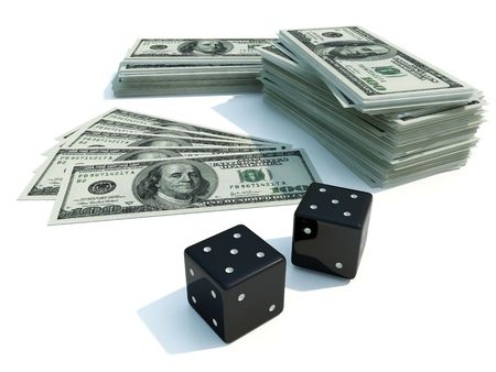 batch of dollars: Batch of dollars and dice isolated on white Stock Photo