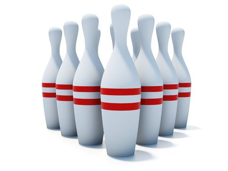 fervour: skittles for bowling isolated on white background