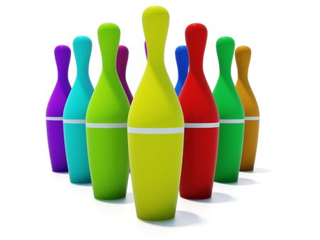 color skittles for bowling isolated on white