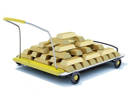 resplendence: Hand cart with gold isolated on white