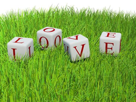Red letters Love on bricks on green grass photo
