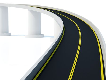 Divided highway with yellow stripe on white background photo