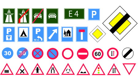 Europe road signs Stock Vector - 2790177