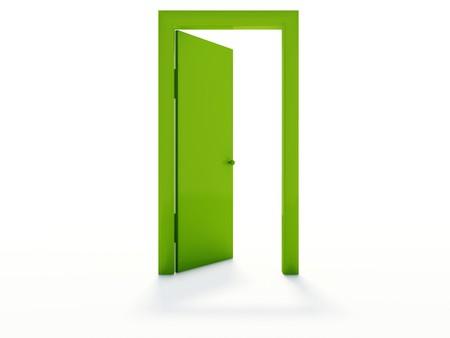 puerta verde: Verde puertas aisladas en blanco