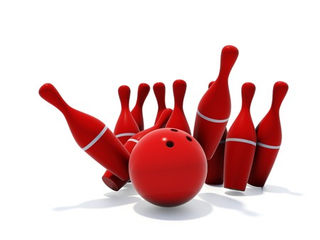 Red skittles for bowling isolated on white background