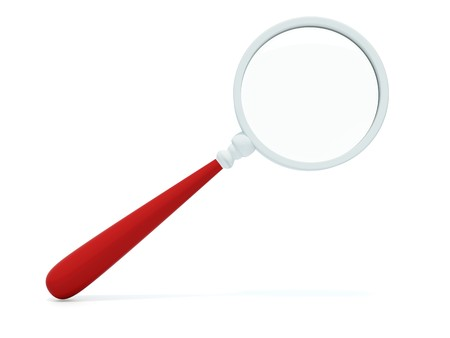 sleuth: Magnifier with red handle isolated on white