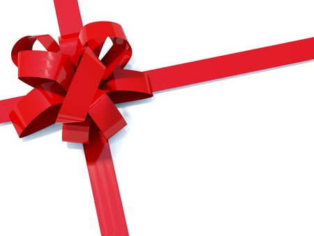 bestowal: Big red bow with ribbons isolated on white