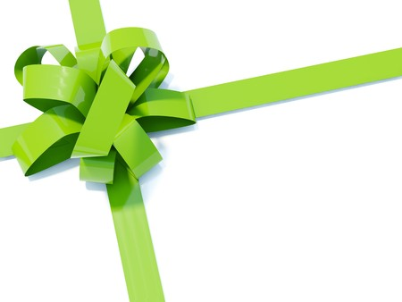 bestowal: Big green bow with ribbons isolated on white
