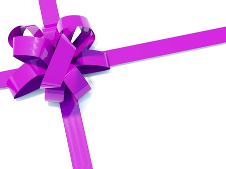 bestowal: Big violete bow with ribbons isolated on white