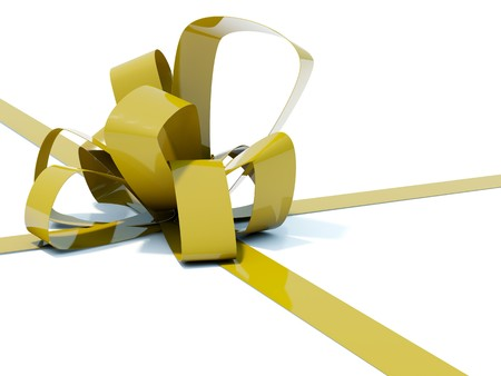 bestowal: Big gold bow with ribbons isolated on white