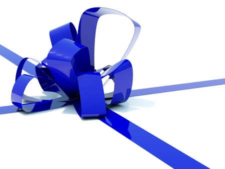 bestowal: Big blue bow with ribbons isolated on white Stock Photo