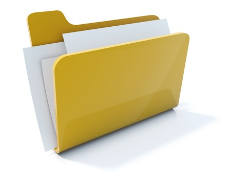 document file: Full yellow folder icon isolated on white
