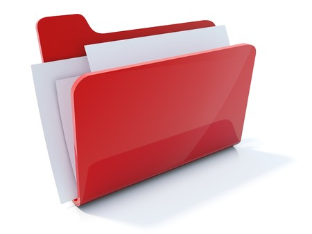 Full red folder icon isolated on white Stock Photo