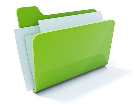 glossiness: Full green folder icon isolated on white Stock Photo