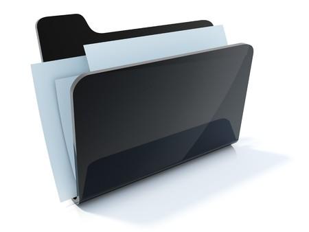 glossiness: Full black folder icon isolated on white Stock Photo