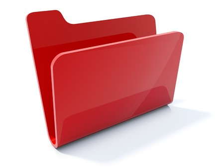 data memory: Empty red folder icon isolated on white