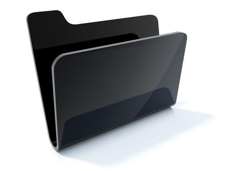 Empty black folder icon isolated on white