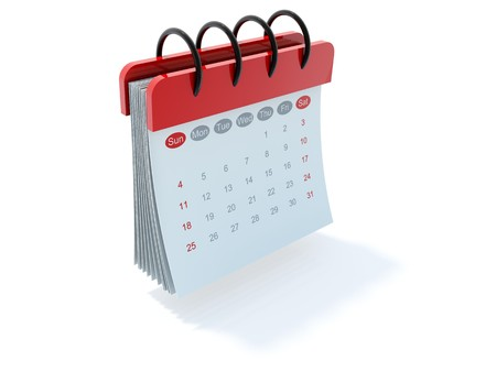 calendar icon: Red calendar icon isolated on white Stock Photo