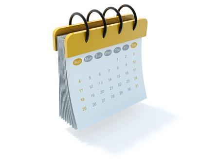 icon 3d: Yellow calendar icon isolated on white Stock Photo