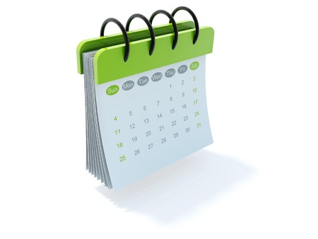 green dates: Green calendar icon isolated on white