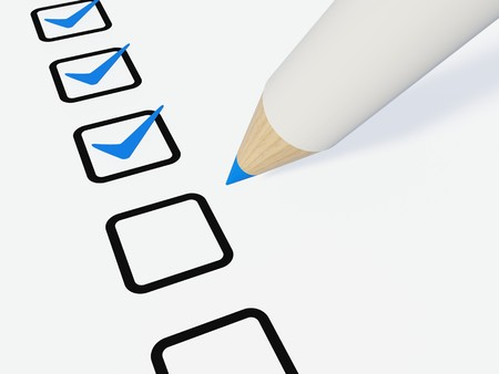 Checklist with pen isolated on white Stock Photo
