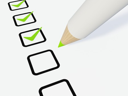 work popular: Checklist with pen isolated on white Stock Photo
