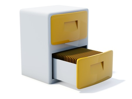 glossiness: Yellow archive icon isolated on white Stock Photo