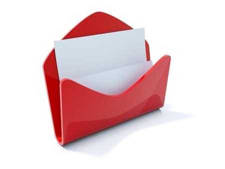 Red mail icon isolated on white