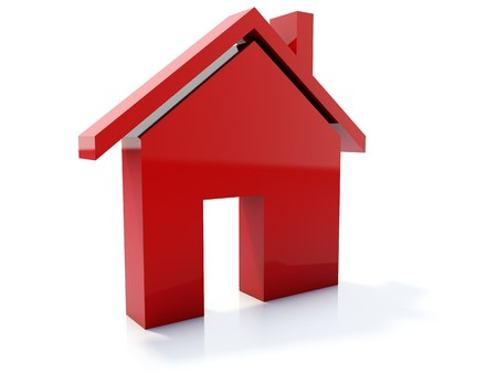 Red home icon isolated on white Stock Photo - 4224668