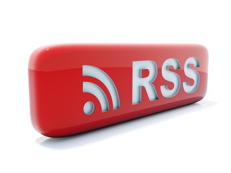 syndicated: Glossy red rss icon isolated on white