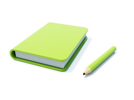 Green notebook with pen isolated on white photo