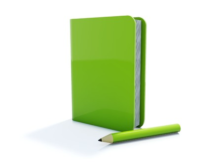 Green notebook with pen icon isolated on white Stock Photo - 4294410