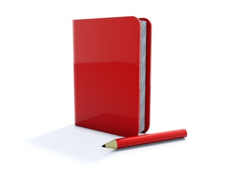 Red notebook with pen icon isolated on white photo