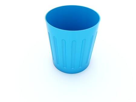 poubelle bleue: Vide ic�ne bac bleu isol� sur blanc